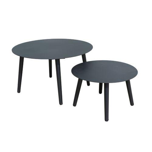 Table d'appoint de jardin Central Park Nice noir aluminium 2pcs