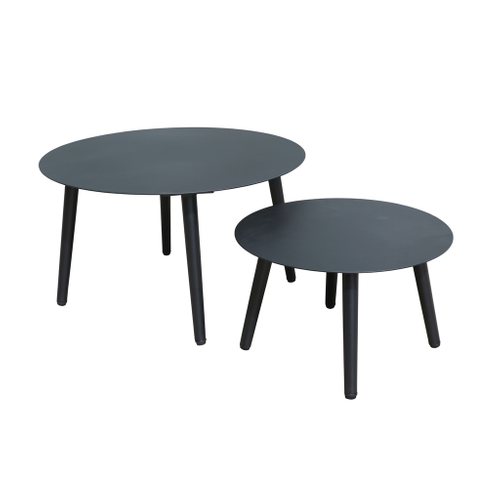 Table d'appoint de jardin Central Park Nice noir aluminium 2pcs