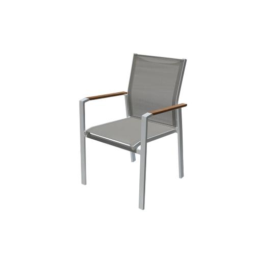 Chaise de jardin Central Park Bonifacio multiposition aluminium/textilène taupe