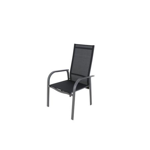 Chaise de jardin Central Park Arles multiposition aluminium/textilène gris