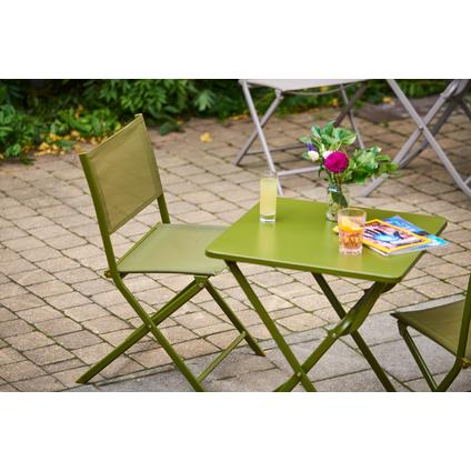 Table de bistrot Central Park Stacy vert acier 60x60cm