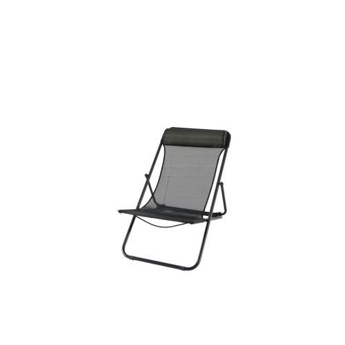 Central Park chaise de plage Sevilla acier / textilène noir