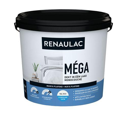 Peinture murale Renaulac Méga blanc satiné 5L