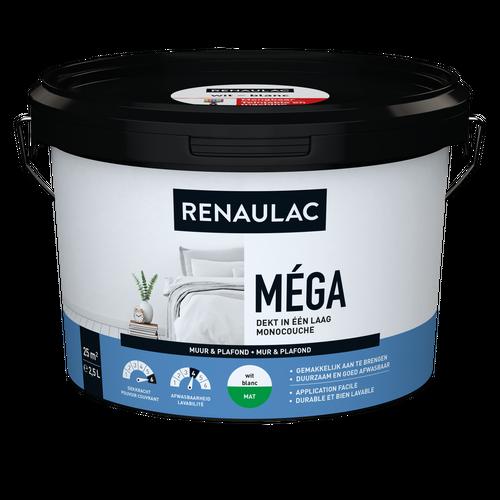 Renaulac binnenmuurverf Méga mat wit 2,5L