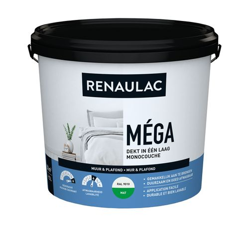 Peinture murale Renaulac Méga blanc mat 5L