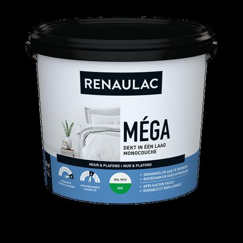 Renaulac binnenmuurverf Méga mat RAL 9010 5L