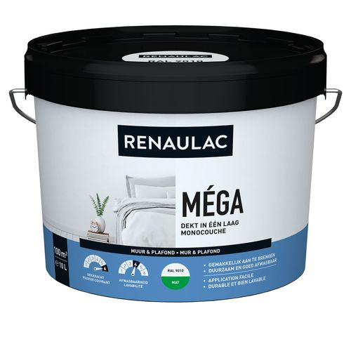 Renaulac latex Méga mat RAL 9010 10L