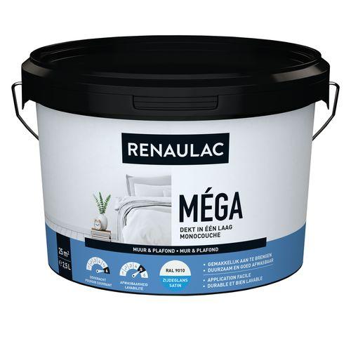 Peinture murale Renaulac Méga blanc satiné 2,5L