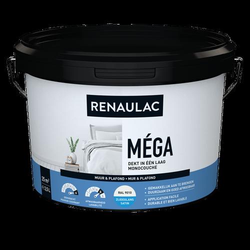 Renaulac binnenmuurverf Méga zijdeglans RAL 9010 2,5L
