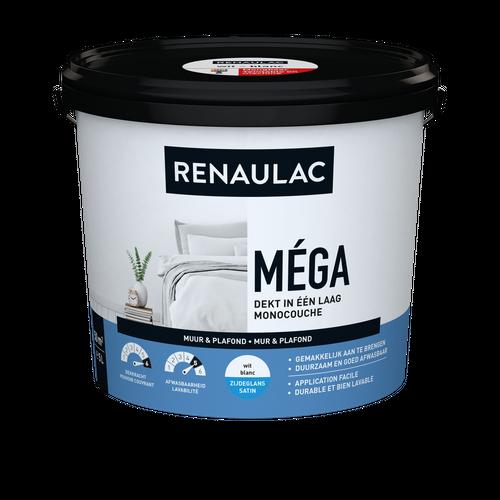 Renaulac binnenmuurverf Méga zijdeglans wit 5L