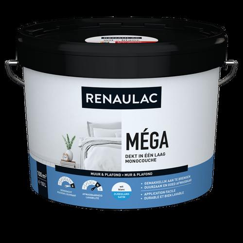 Renaulac binnenmuurverf Méga zijdeglans wit 10L
