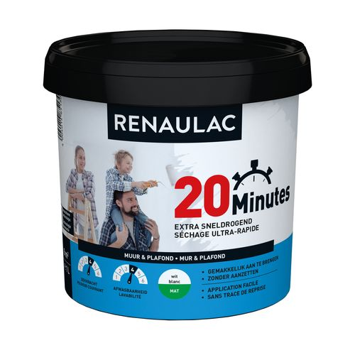 Renaulac peinture murale 20 Minutes mat blanc 1L