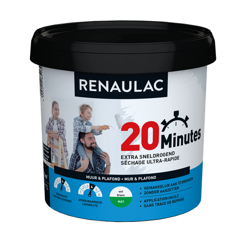 Renaulac binnenmuurverf 20 Minutes mat wit 1L
