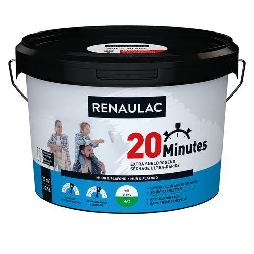 Peinture murale Renaulac 20 Minutes blanc mat 2,5L