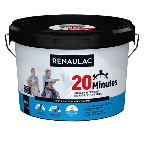 Peinture murale Renaulac 20 Minutes blanc satiné 2,5L