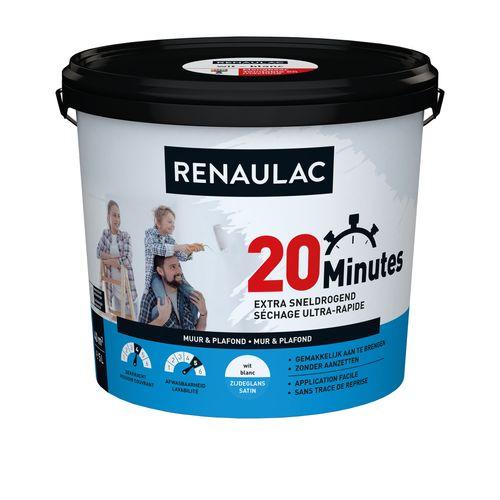 Peinture murale Renaulac 20 Minutes blanc satiné 5L