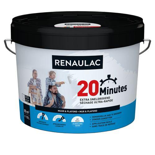 Peinture murale Renaulac 20 Minutes blanc satiné 10L