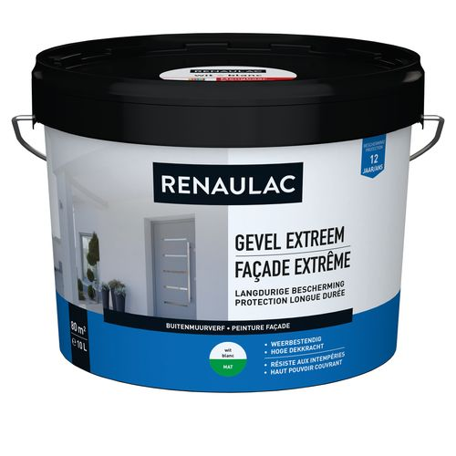 Renaulac buitenmuurverf Gevel Extreem mat wit 10L