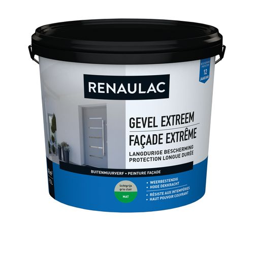 Renaulac buitenmuurverf Gevel Extreem mat lichtgrijs 5L