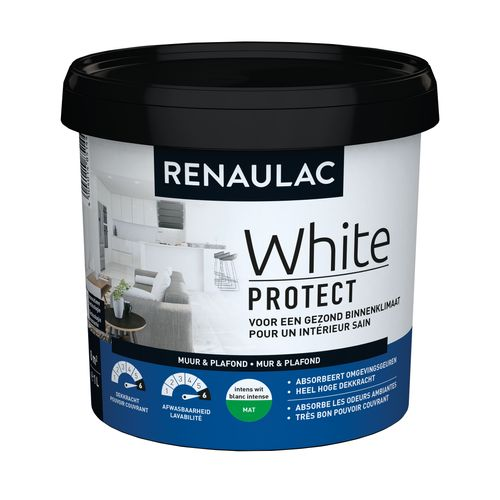 Renaulac binnenmuurverf White Protect mat wit 1L