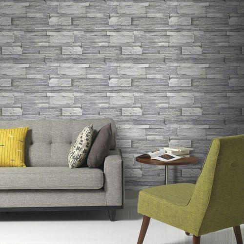 Papier peint intissé Decomode Mur en pierre gris