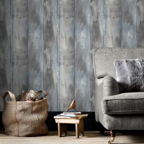 Papier peint intissé DecoMode étagère gris bleu