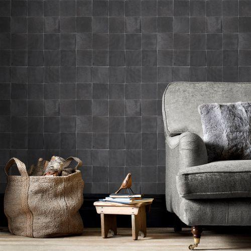 Papier peint intissé DecoMode carreau émaillé noir