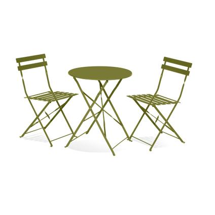 Set bistro Central Park Maddy acier vert