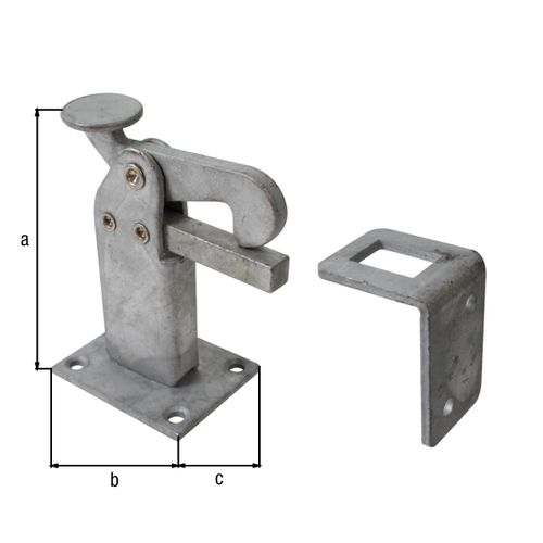 Butoir de porte Gah Alberts pour montage au sol + contre-plaque galvanisée à chaud 95x65mm