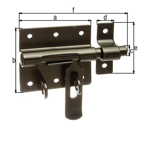 GAH Alberts bout-sluitgrendel verzinkt kunststof coating + bevestigd tegenstuk 70/100mm