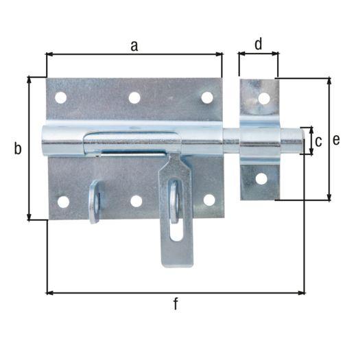 GAH Alberts bout-sluitgrendel blauw verzinkt + bevestigd tegenstuk 80/116mm