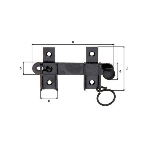 GAH Alberts slaggrendel met vaststel-voorziening + verzonken schroefgaten met ring zwart 120x65mm