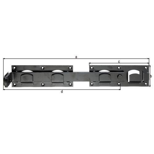 Verrou GAH Alberts pour porte double laquée noire 423x70mm