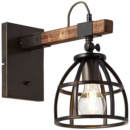Brilliant wandlamp Matrix Wood zwart hout E27
