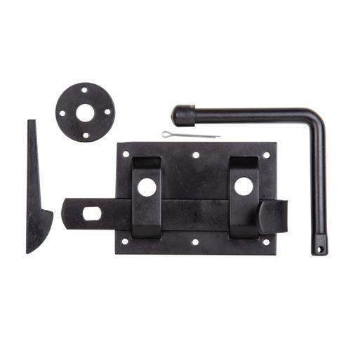 Serrure de porte GAH Alberts revêtement plastique noir 122x85mm