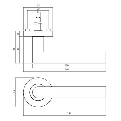 Intersteel deurkruk Bastian staal mat zwart met rozet