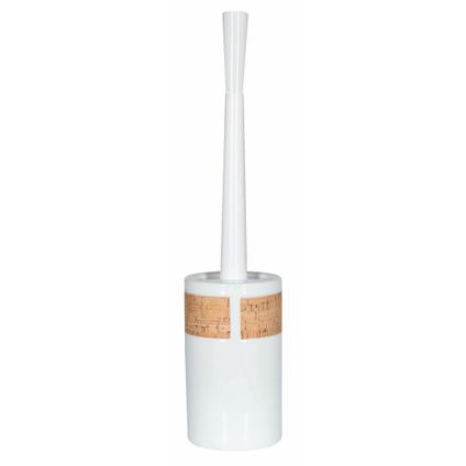 Set brosse wc Spirella Tube blanc brillant liège à poser