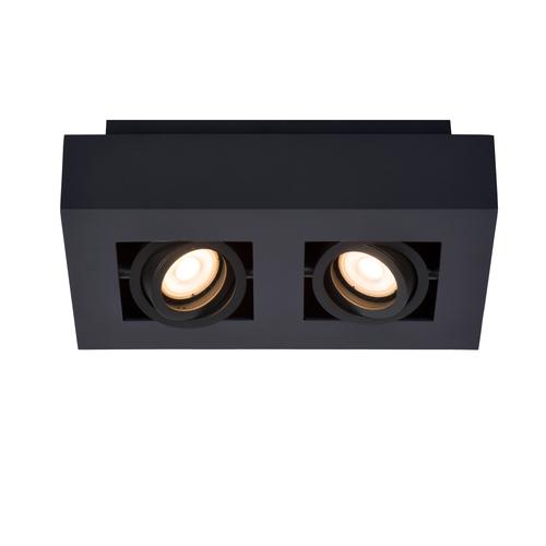 Lucide plafondlamp Xirax zwart dimbaar 2x5W