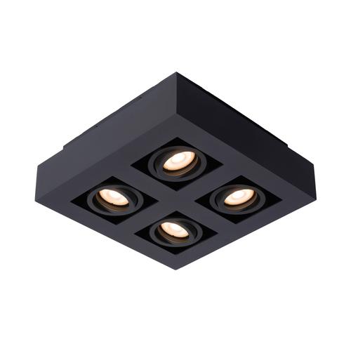 Lucide plafondlamp Xirax zwart dimbaar 4x5W