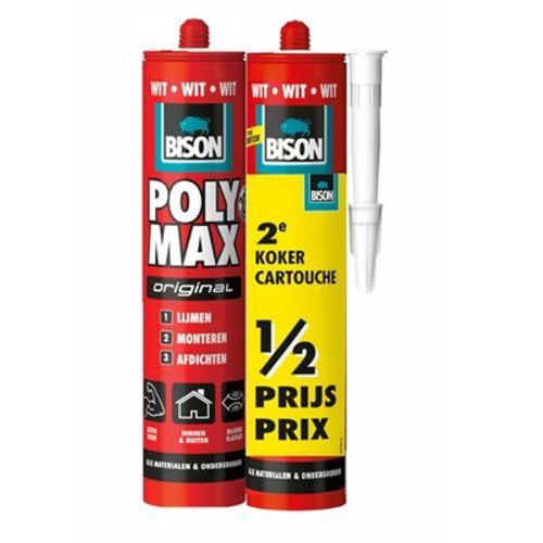 Bison universele montagelijm Poly Max Original Wit 425g Duo