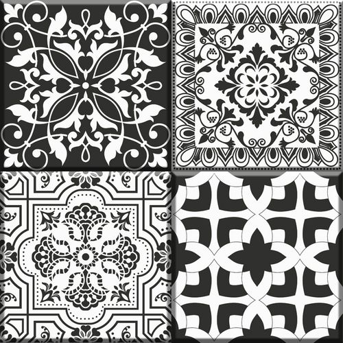 Vloertegel Notte wit/zwart mix 30x30cm