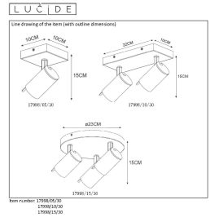 Lucide spot LED Grony 3x5W