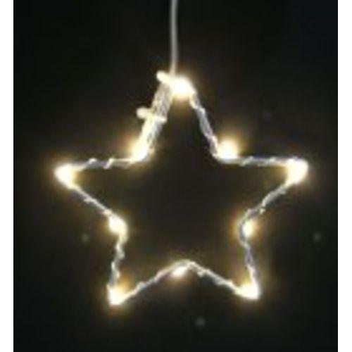 Kerstverlichting ster zilver 10 micro LED-lampjes