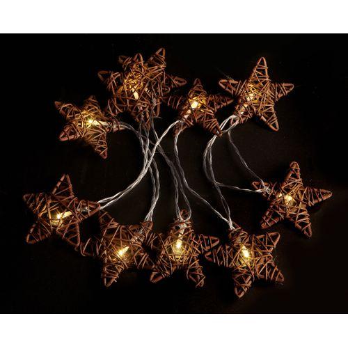 Kerstverlichting ster bruin rattan 10 LED-lampjes