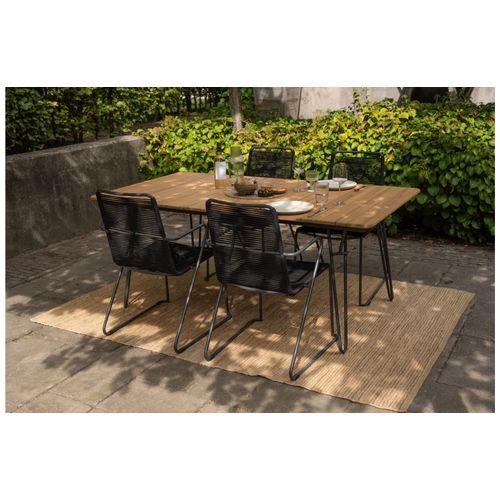 Chaise de jardin Exotan Slimm avec accoudoirs noir