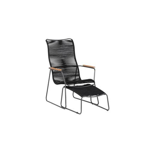 Exotan loungestoel Slimm + voetebankje zwart