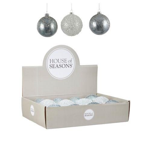 Boule de Noël en verre bleu/blanc/argent 8cm 1pièce