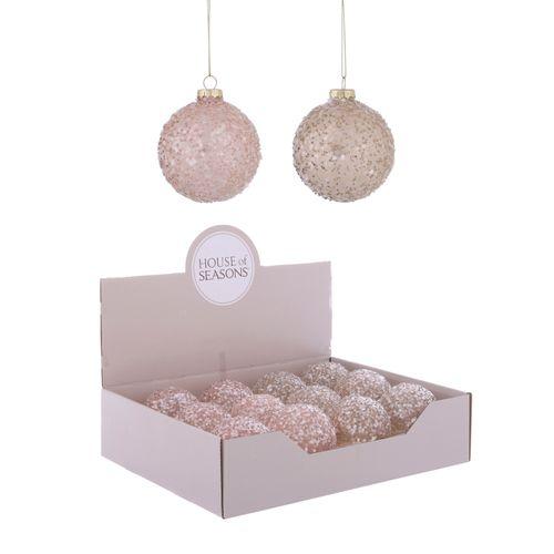 Boule de Noël en verre rose 1 pièce