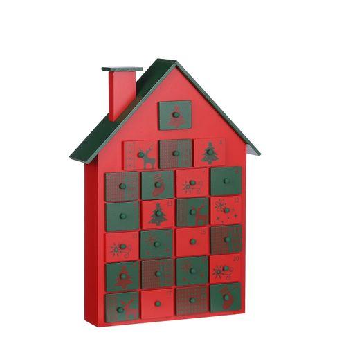 Calendrier de l'avent maison bois rouge 28x7x38,5cm