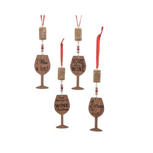 Suspension de Noël verre de vin Decoris liège brun 4,5x17cm 1pièce